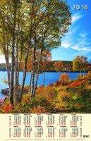 """Календарь на 2016 год листовой """"Осень золотая. Березы у реки"""" (КН10-16001)"""